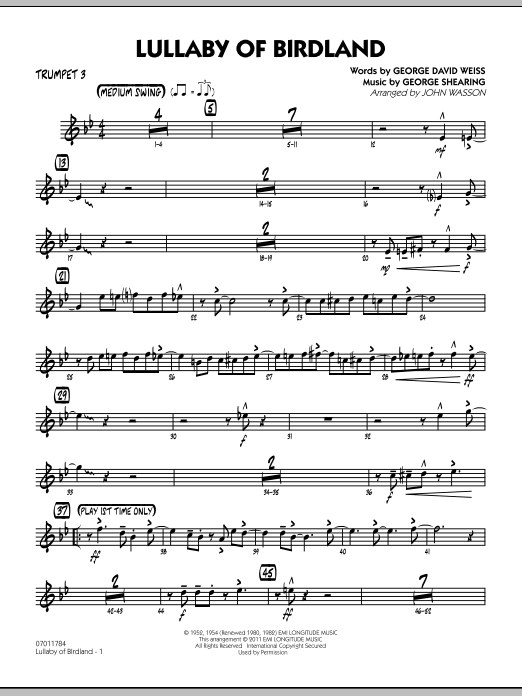 John Wasson Lullaby Of Birdland - Trumpet 3 sheet music preview music notes and score for Jazz Ensemble including 3 page(s)