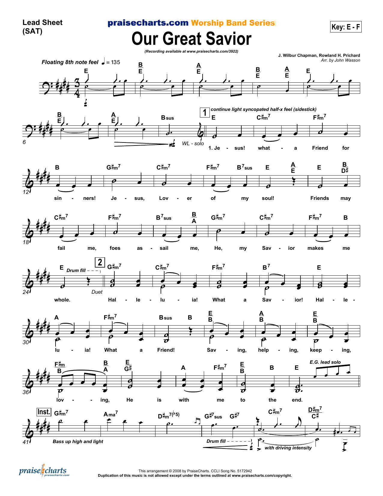 John Wasson Our Great Savior sheet music preview music notes and score for Lead Sheet / Fake Book including 6 page(s)