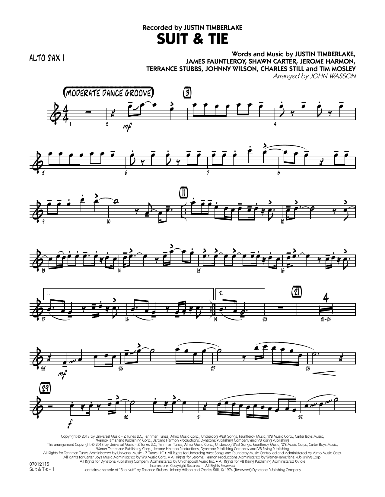 John Wasson Suit & Tie - Alto Sax 1 sheet music notes and chords