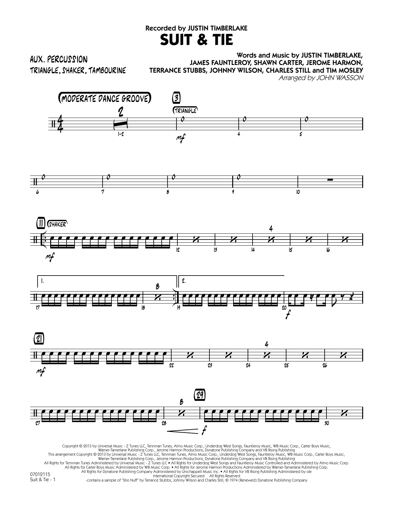 John Wasson Suit & Tie - Aux Percussion sheet music notes and chords