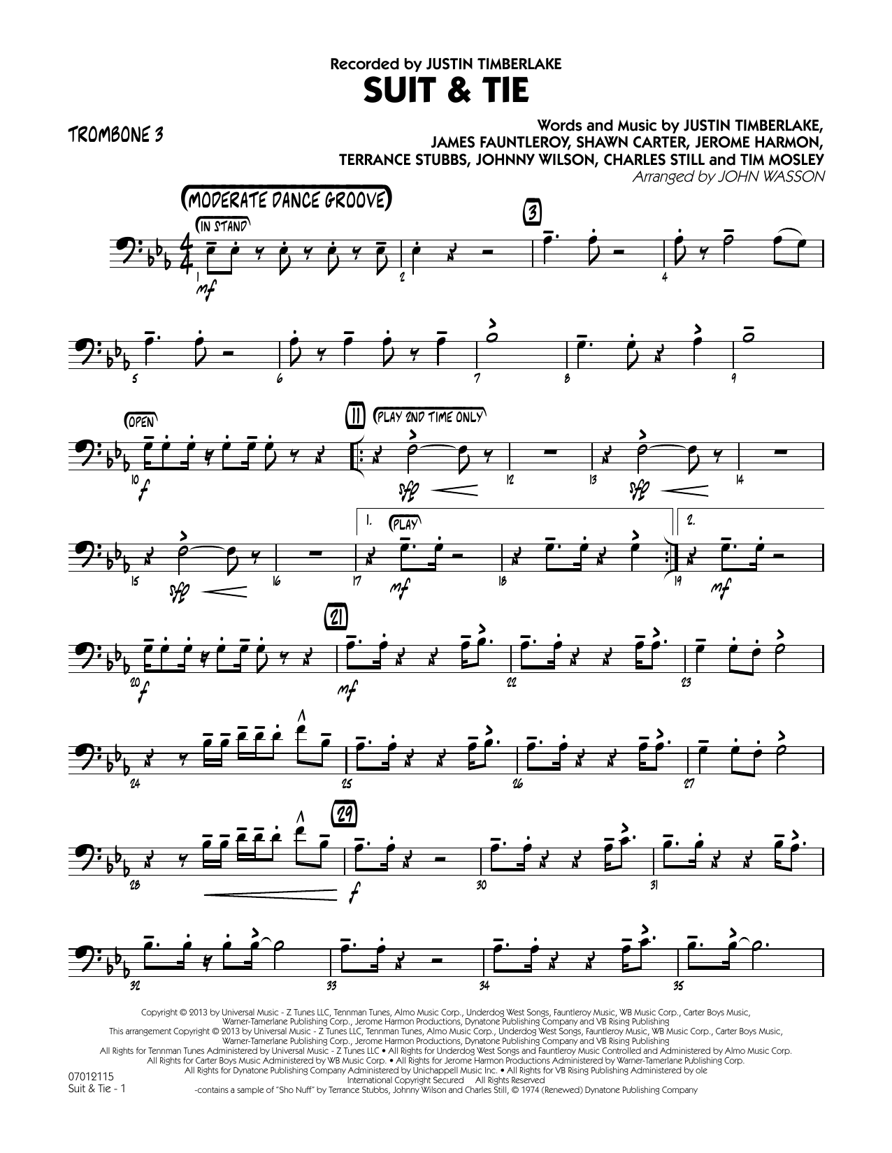 John Wasson Suit & Tie - Trombone 3 sheet music notes and chords
