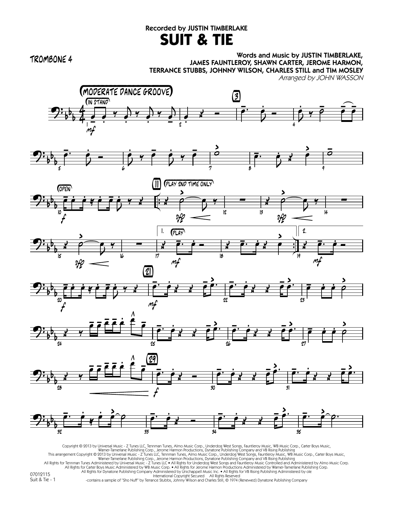 John Wasson Suit & Tie - Trombone 4 sheet music notes and chords