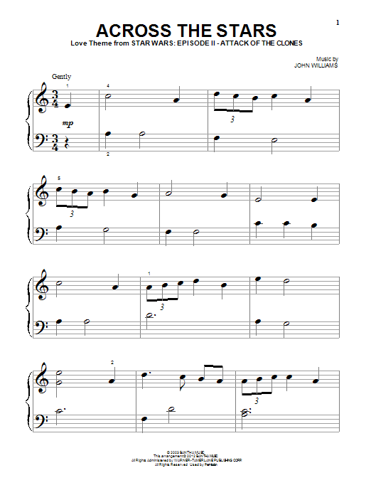 Download John Williams 'Across The Stars (Love Theme from Star Wars: Attack of The Clones)' Digital Sheet Music Notes & Chords and start playing in minutes