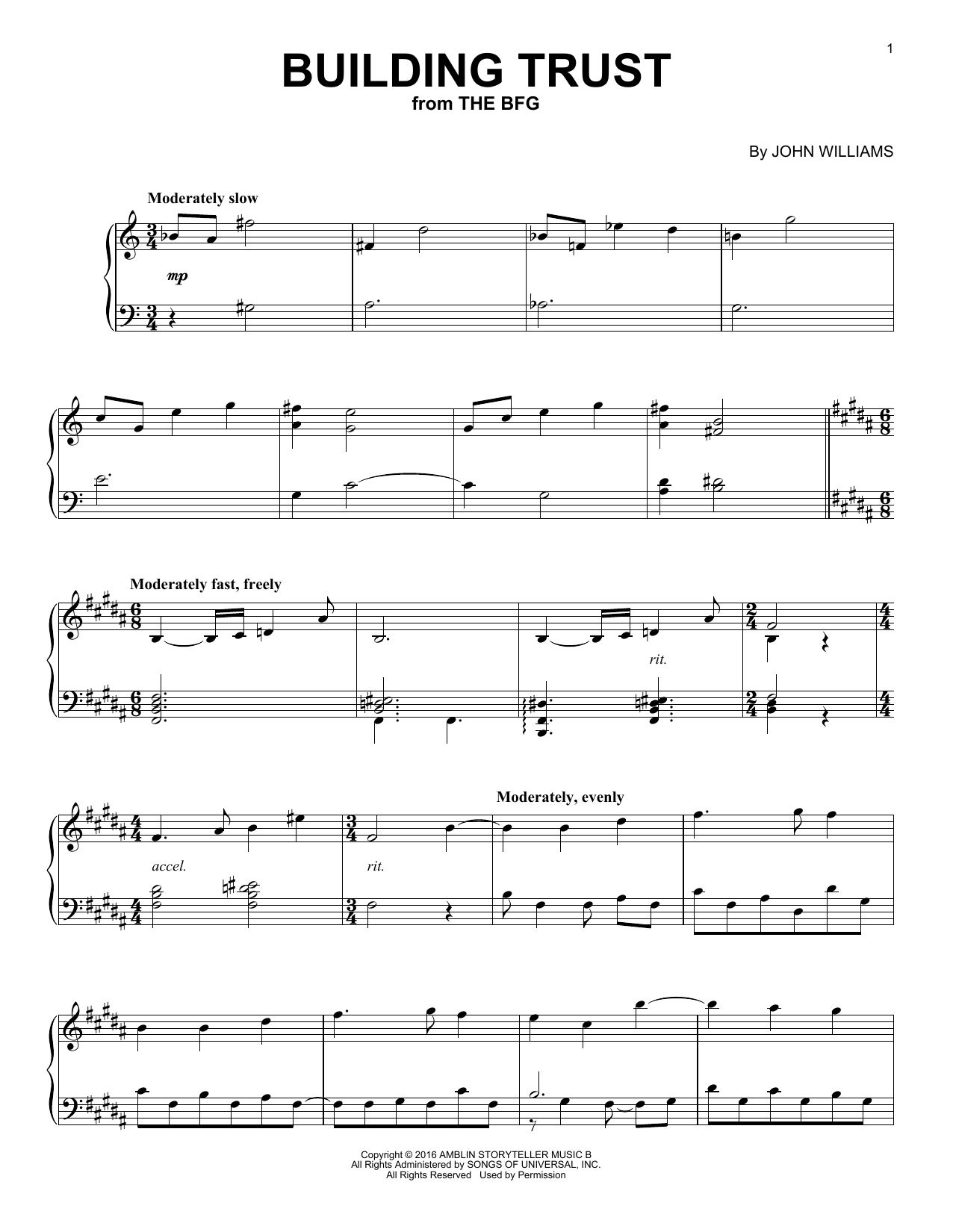 Download John Williams 'Building Trust' Digital Sheet Music Notes & Chords and start playing in minutes