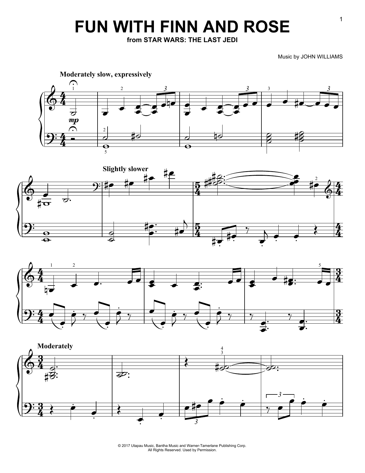 Download John Williams 'Fun With Finn And Rose' Digital Sheet Music Notes & Chords and start playing in minutes
