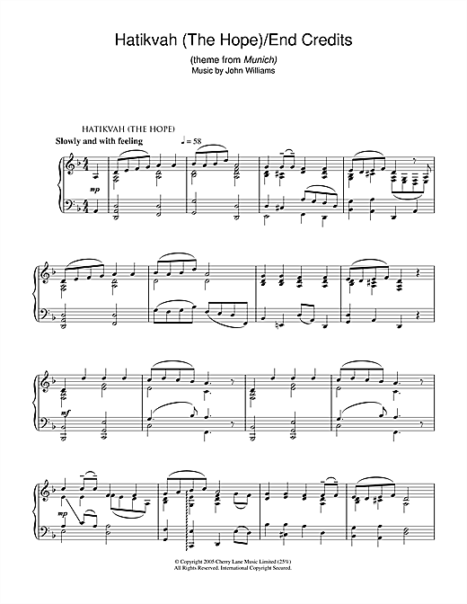 Download John Williams 'Hatikvah (The Hope)/End Credits (from Munich)' Digital Sheet Music Notes & Chords and start playing in minutes