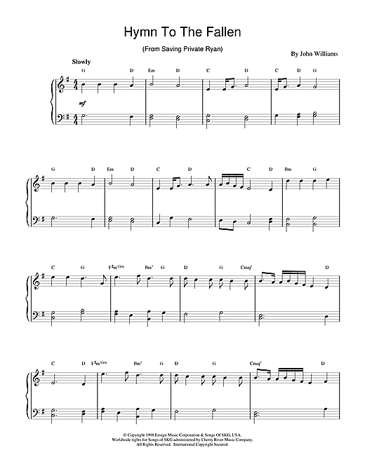 Download John Williams 'Hymn To The Fallen (from Saving Private Ryan)' Digital Sheet Music Notes & Chords and start playing in minutes