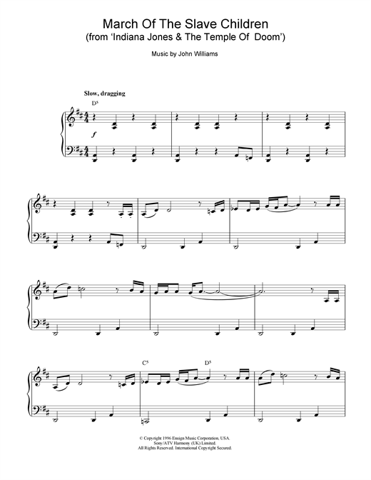 Download John Williams 'March Of The Slave Children (from Indiana Jones And The Temple Of Doom)' Digital Sheet Music Notes & Chords and start playing in minutes