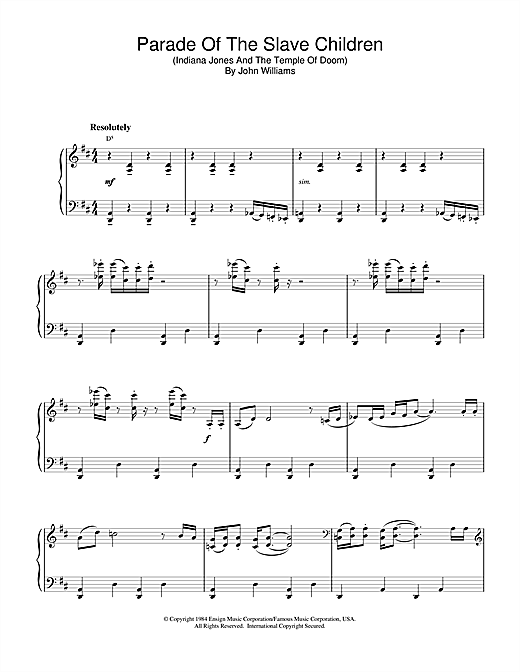 John Williams Parade Of The Slave Children (from Indiana Jones And The Temple Of Doom) sheet music notes and chords