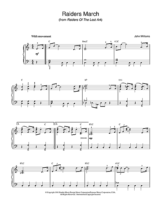 Download John Williams 'Raiders March (from Raiders Of The Lost Ark)' Digital Sheet Music Notes & Chords and start playing in minutes