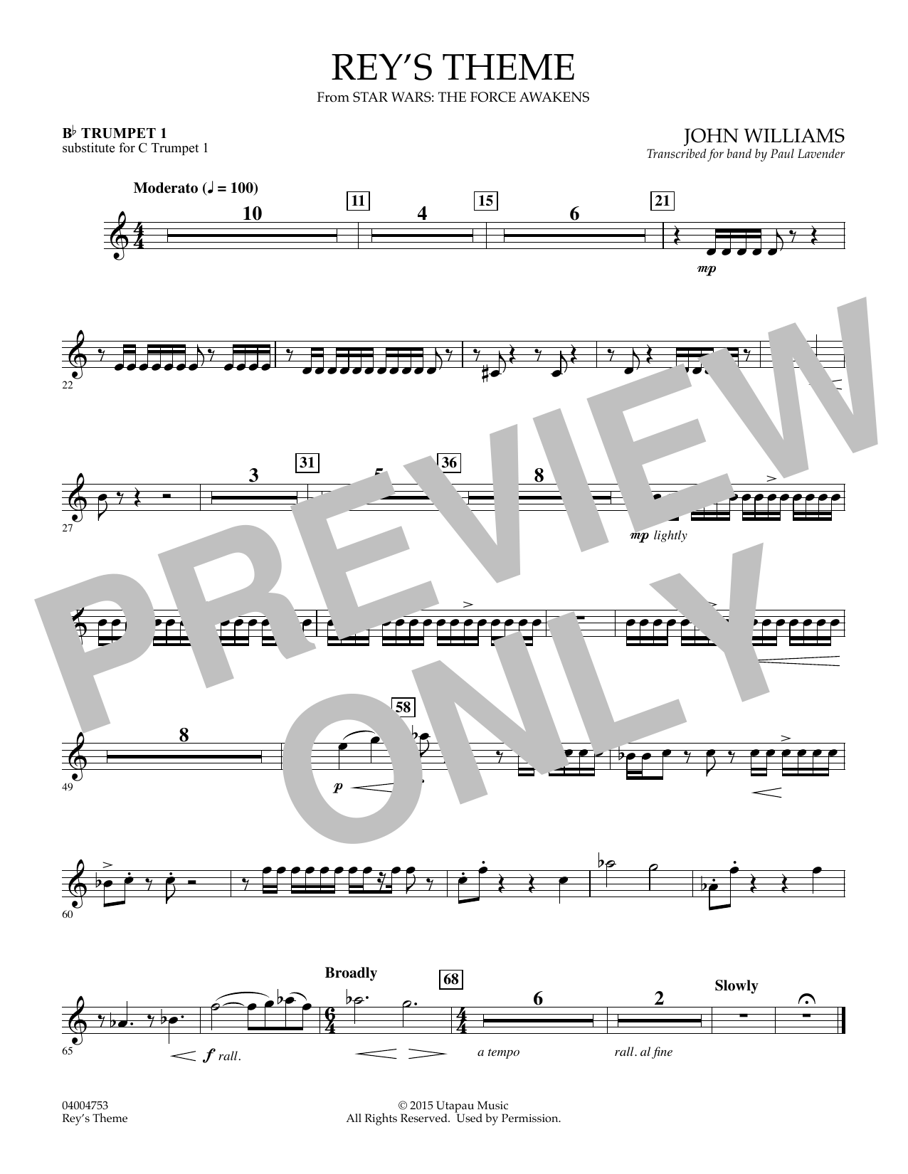 John Williams Rey's Theme (from Star Wars: The Force Awakens) - Bb Trumpet 1 (sub. C Tpt. 1) sheet music preview music notes and score for Concert Band including 1 page(s)