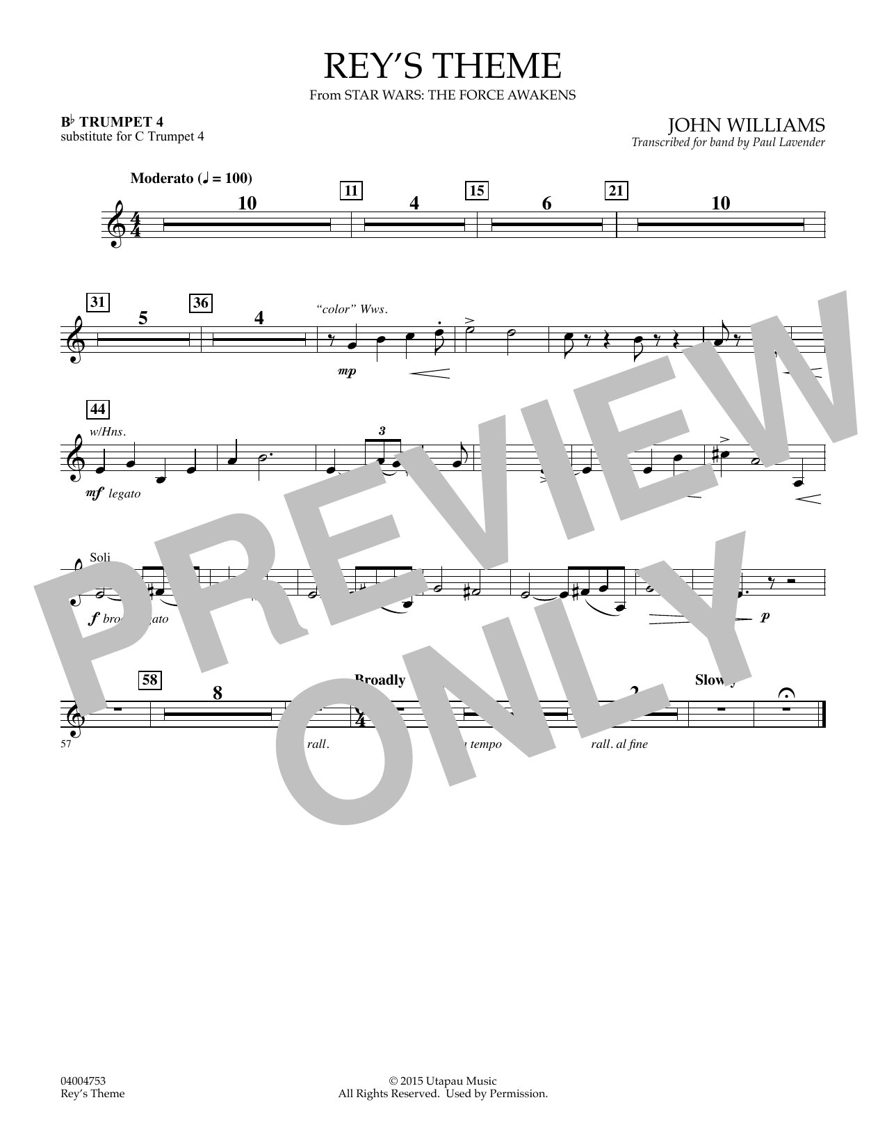 John Williams Rey's Theme (from Star Wars: The Force Awakens) - Bb Trumpet 4 (sub. C Tpt. 4) sheet music preview music notes and score for Concert Band including 1 page(s)