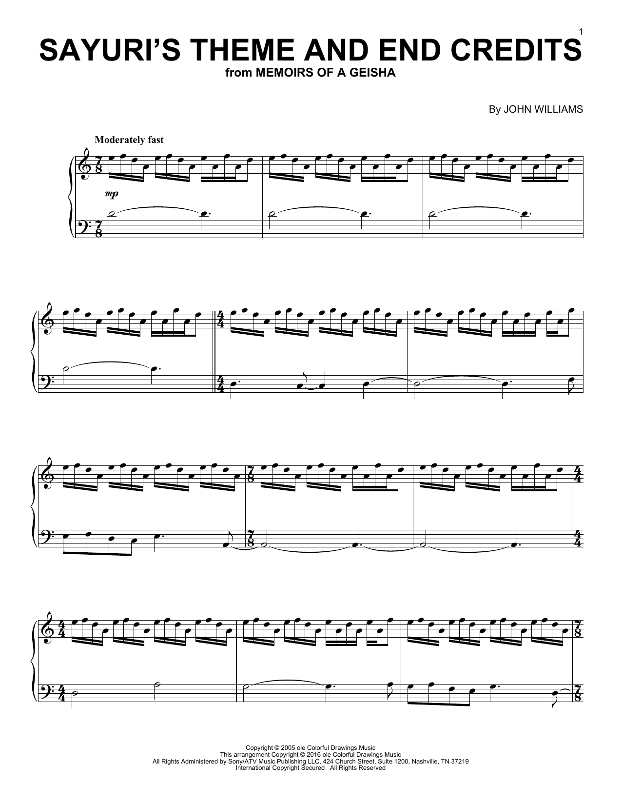 John Williams Sayuri's Theme And End Credits (from Memoirs Of A Geisha) sheet music preview music notes and score for Piano including 7 page(s)