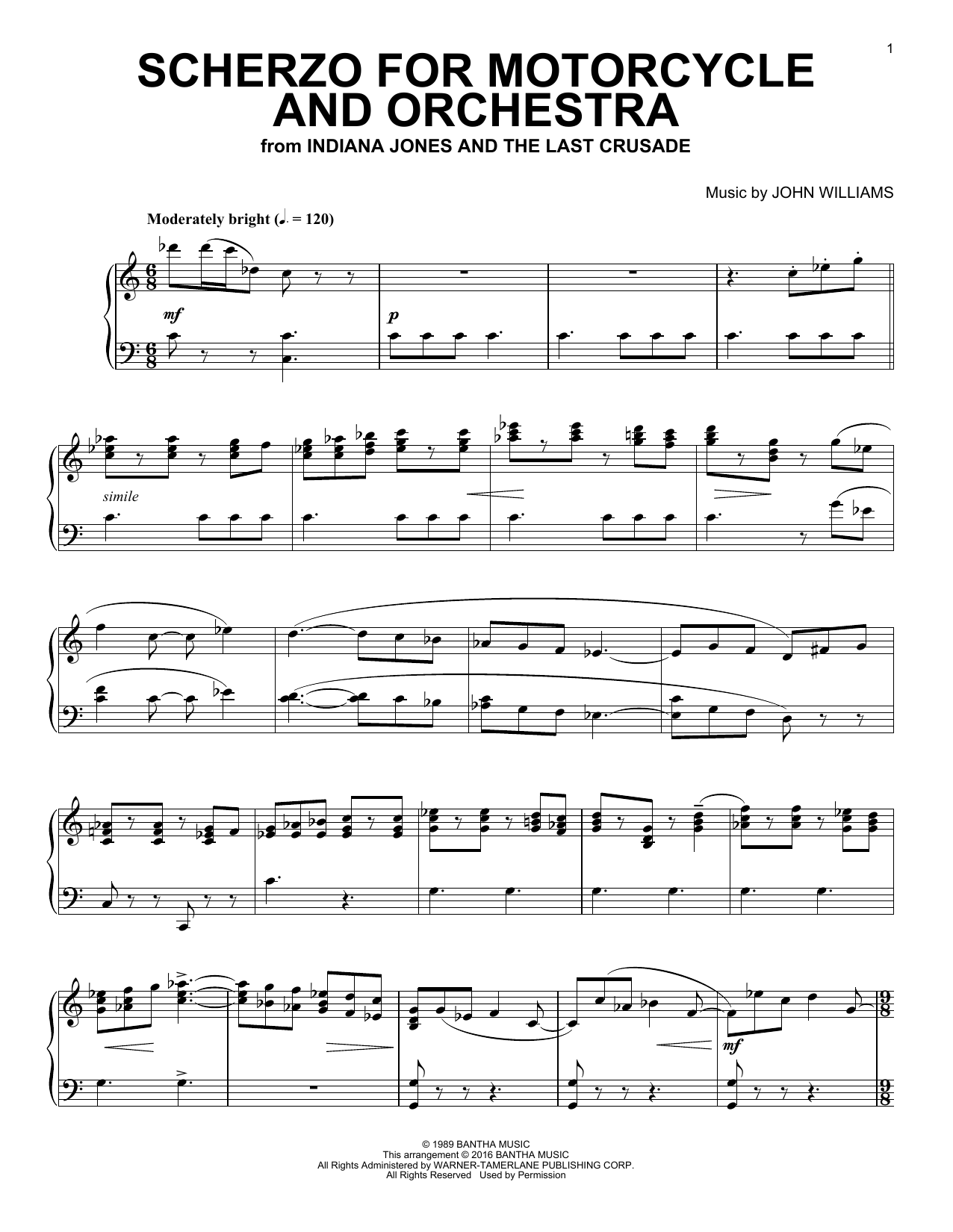 Download John Williams 'Scherzo For Motorcycle And Orchestra' Digital Sheet Music Notes & Chords and start playing in minutes