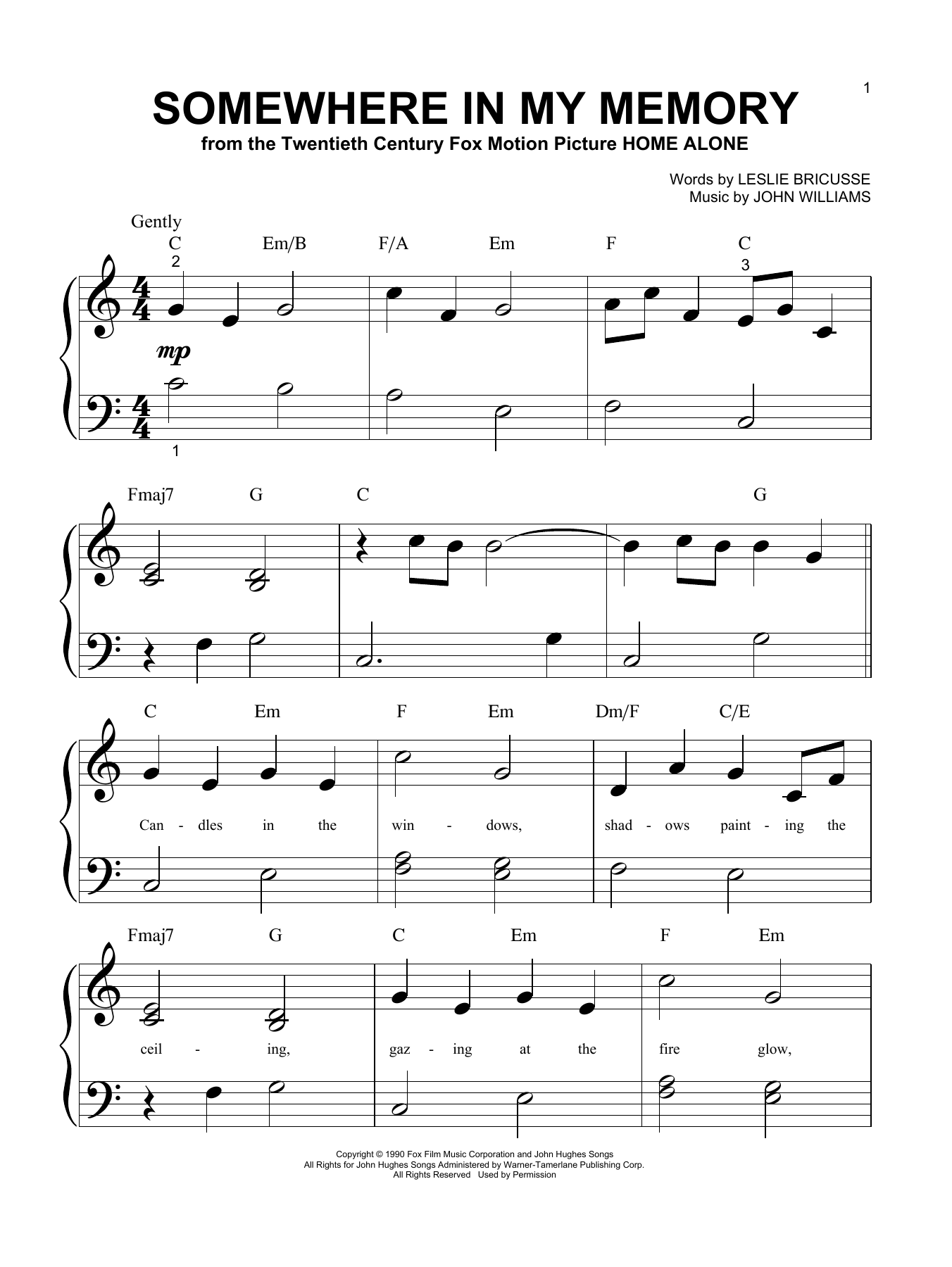 Bette Midler Somewhere In My Memory sheet music preview music notes and score for Guitar Tab including 2 page(s)