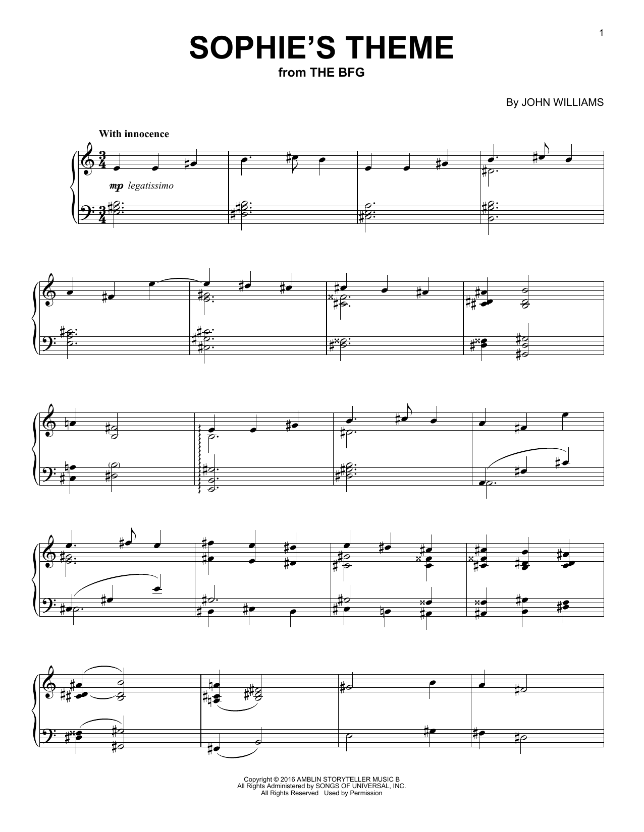 Download John Williams 'Sophie's Theme' Digital Sheet Music Notes & Chords and start playing in minutes