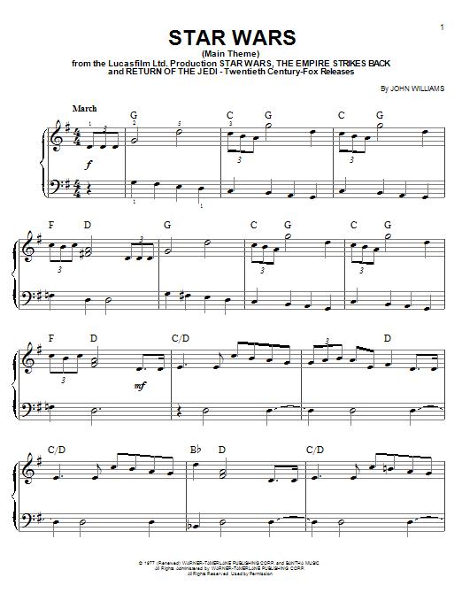 John Williams Star Wars (Main Theme) sheet music notes and chords