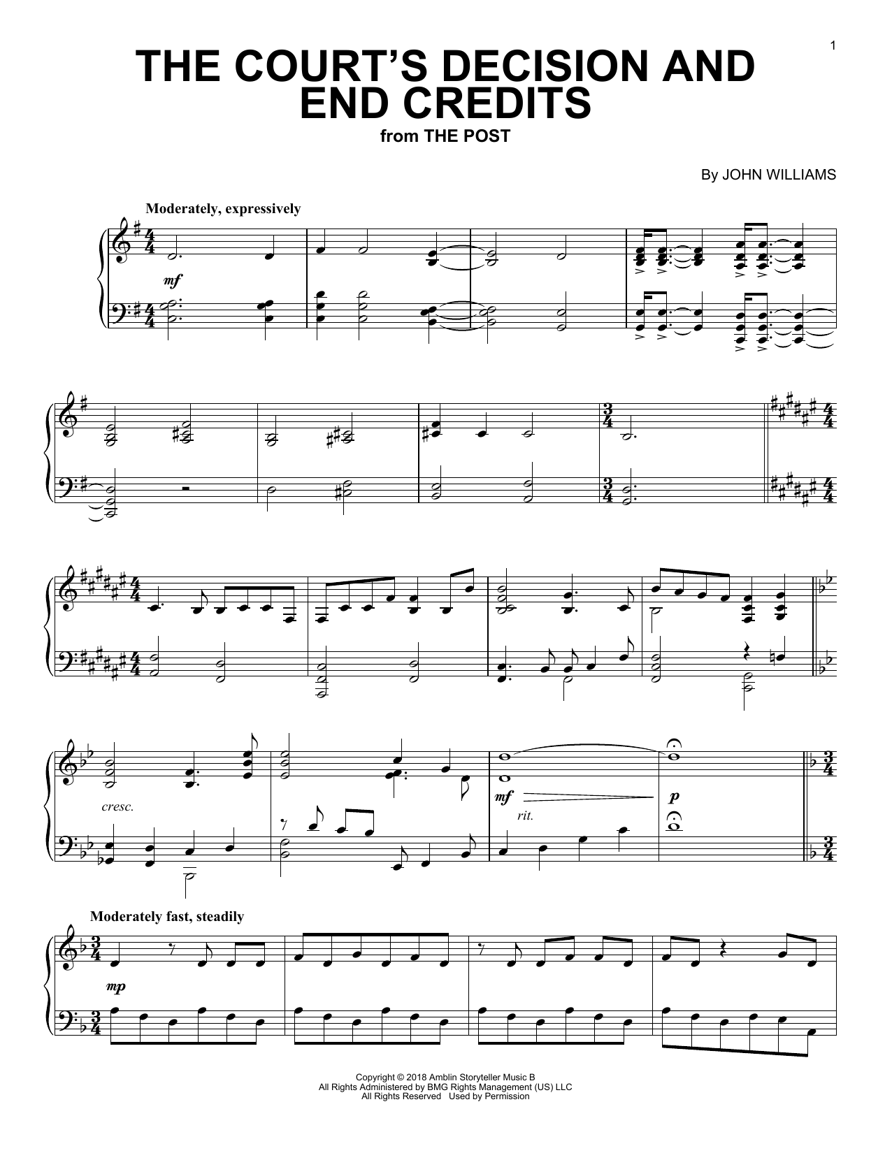 Download John Williams 'The Court's Decision And End Credits (from The Post)' Digital Sheet Music Notes & Chords and start playing in minutes