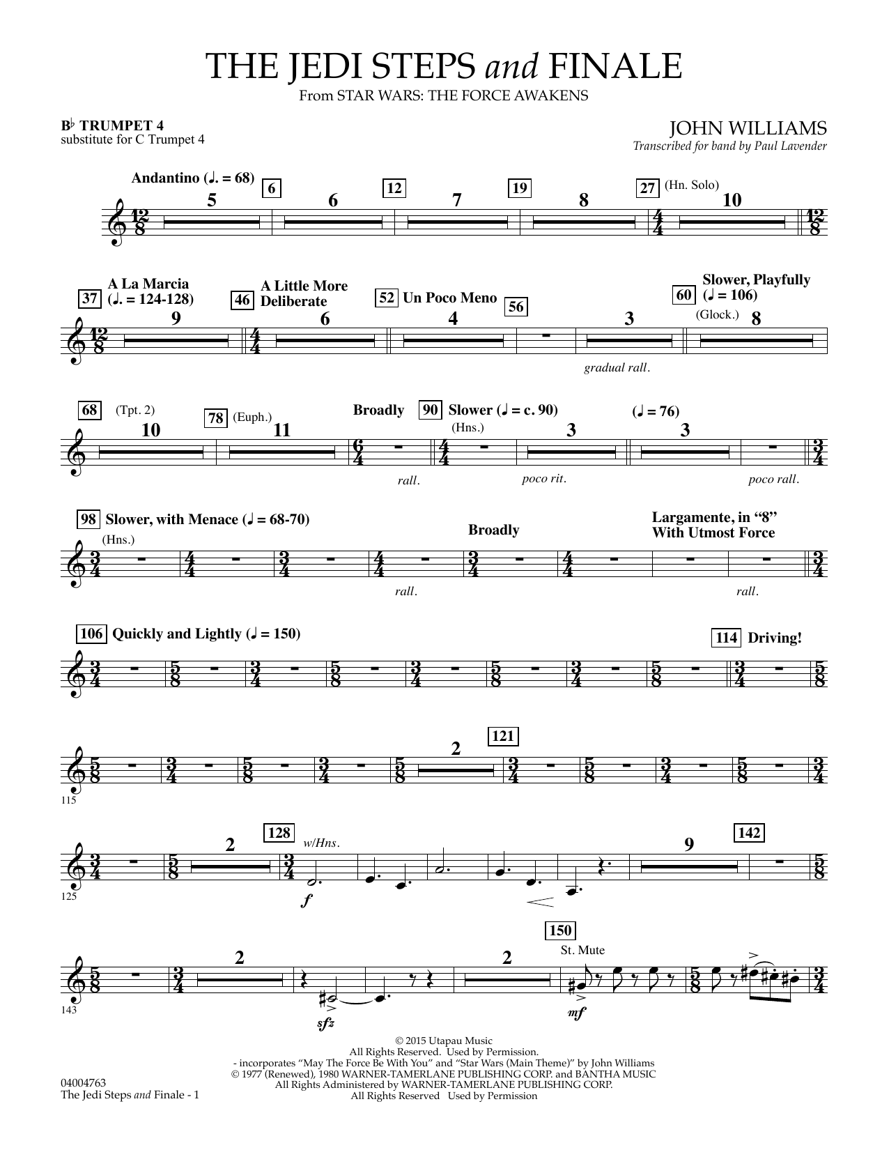 John Williams The Jedi Steps and Finale (from Star Wars: The Force Awakens) - Bb Trumpet 4 (sub. C Tpt. 4) sheet music preview music notes and score for Concert Band including 2 page(s)