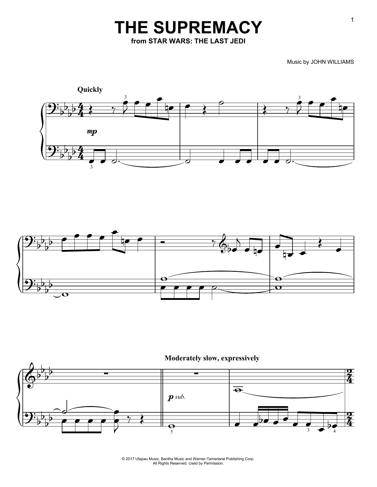 Download John Williams 'The Supremacy' Digital Sheet Music Notes & Chords and start playing in minutes