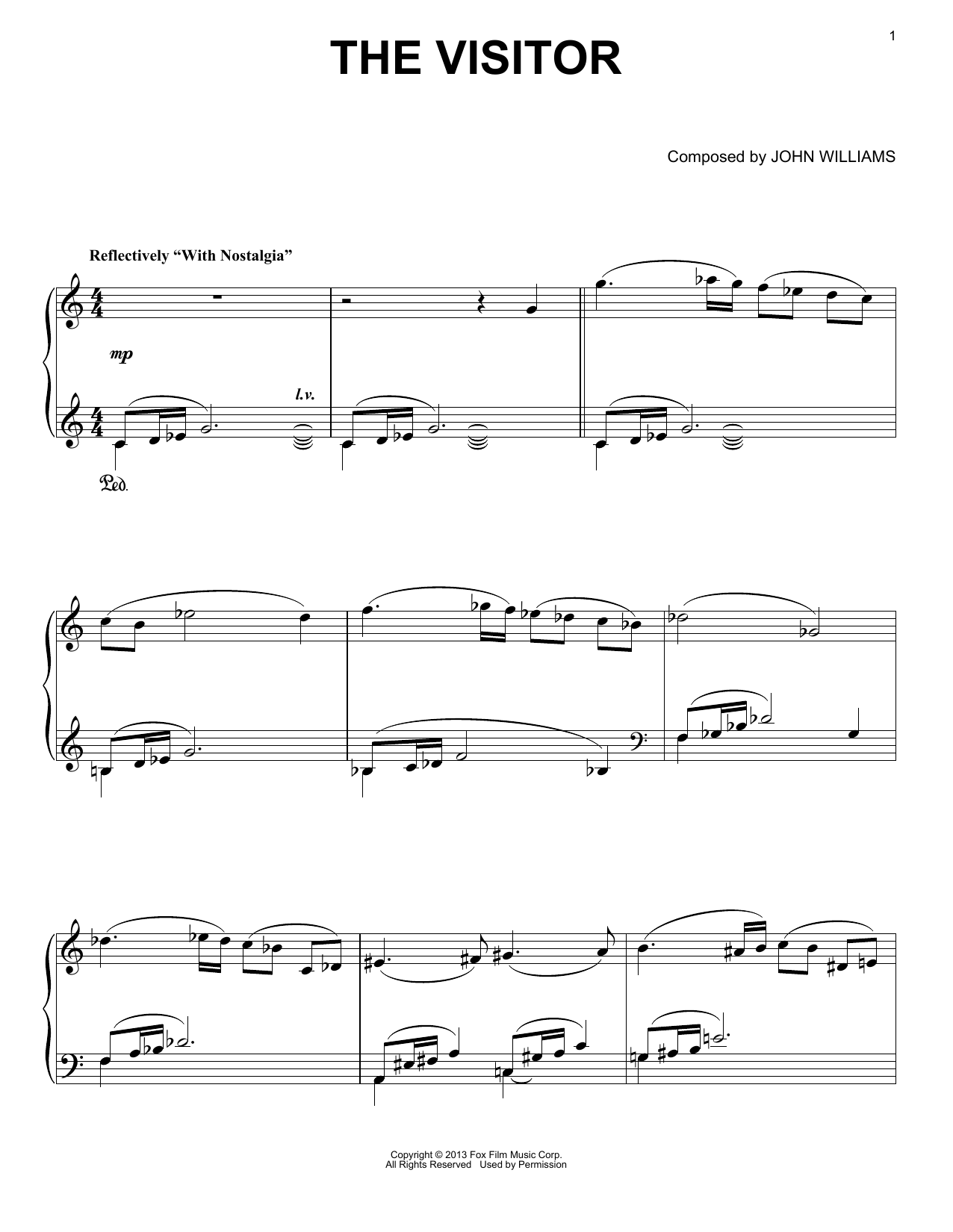 Download John Williams 'The Visitor' Digital Sheet Music Notes & Chords and start playing in minutes
