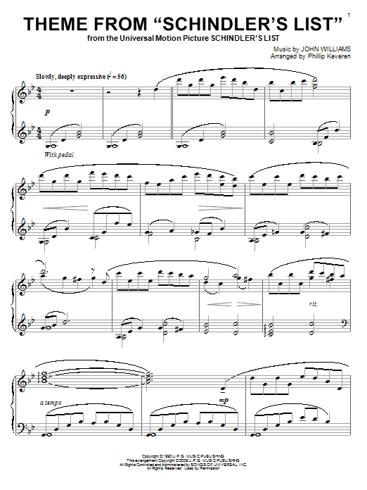 John Williams Theme From Schindler's List sheet music preview music notes and score for E-Z Play Today including 4 page(s)
