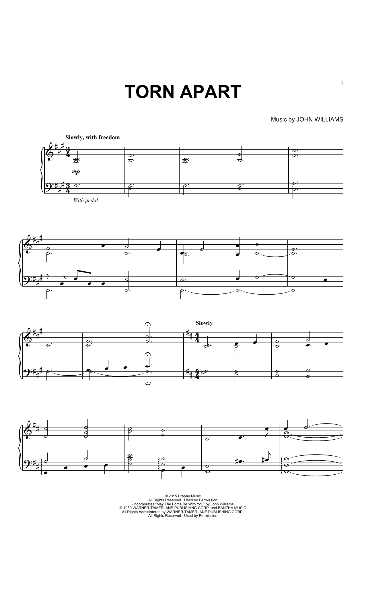 Download John Williams 'Torn Apart' Digital Sheet Music Notes & Chords and start playing in minutes
