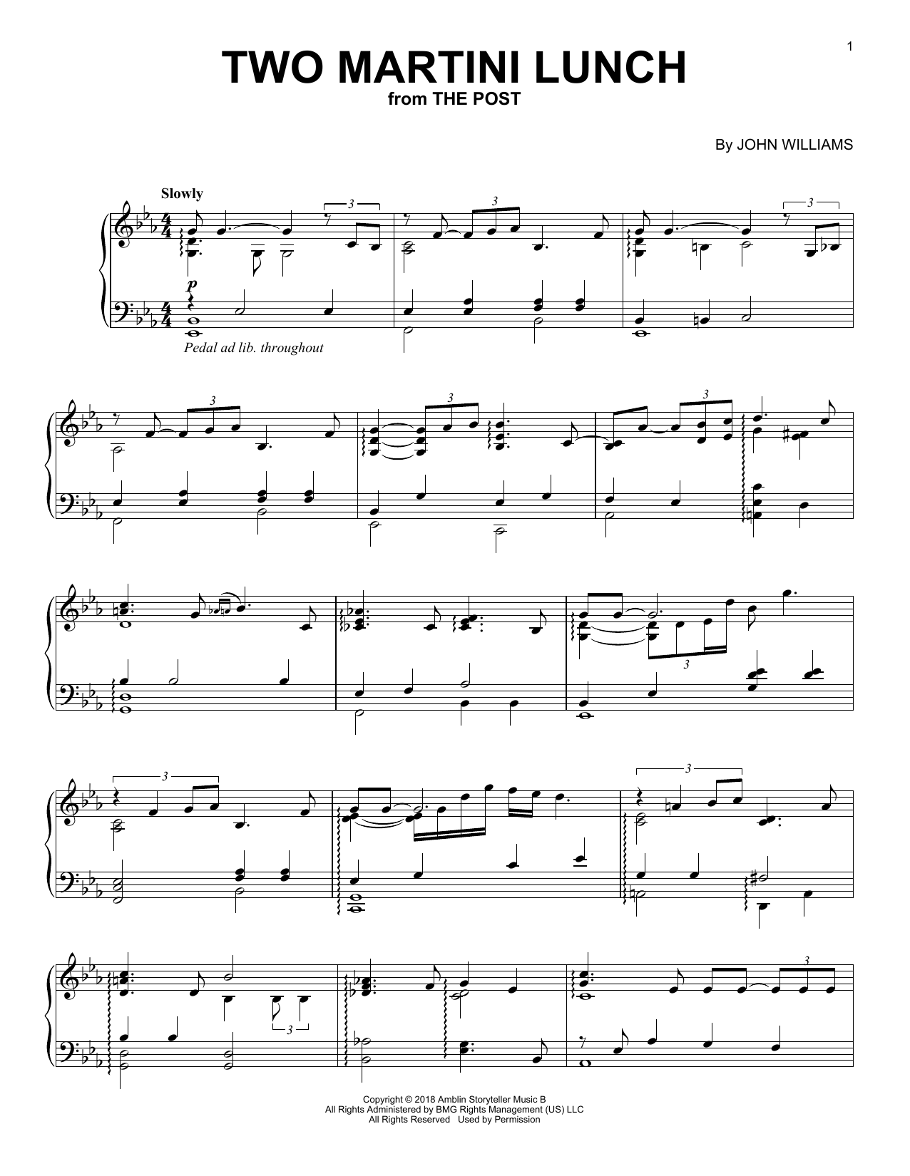 Download John Williams 'Two Martini Lunch (from The Post)' Digital Sheet Music Notes & Chords and start playing in minutes