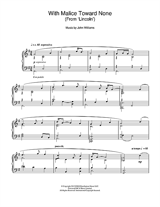 Download John Williams 'With Malice Toward None (From 'Lincoln')' Digital Sheet Music Notes & Chords and start playing in minutes