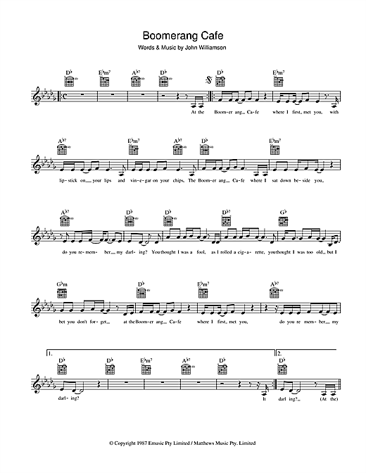 John Williamson Boomerang Cafe sheet music preview music notes and score for Melody Line, Lyrics & Chords including 2 page(s)