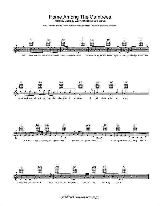 John Williamson Home Among The Gumtrees sheet music preview music notes and score for Melody Line, Lyrics & Chords including 2 page(s)