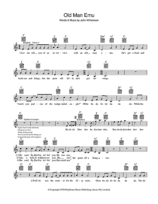 John Williamson Old Man Emu sheet music preview music notes and score for Melody Line, Lyrics & Chords including 2 page(s)