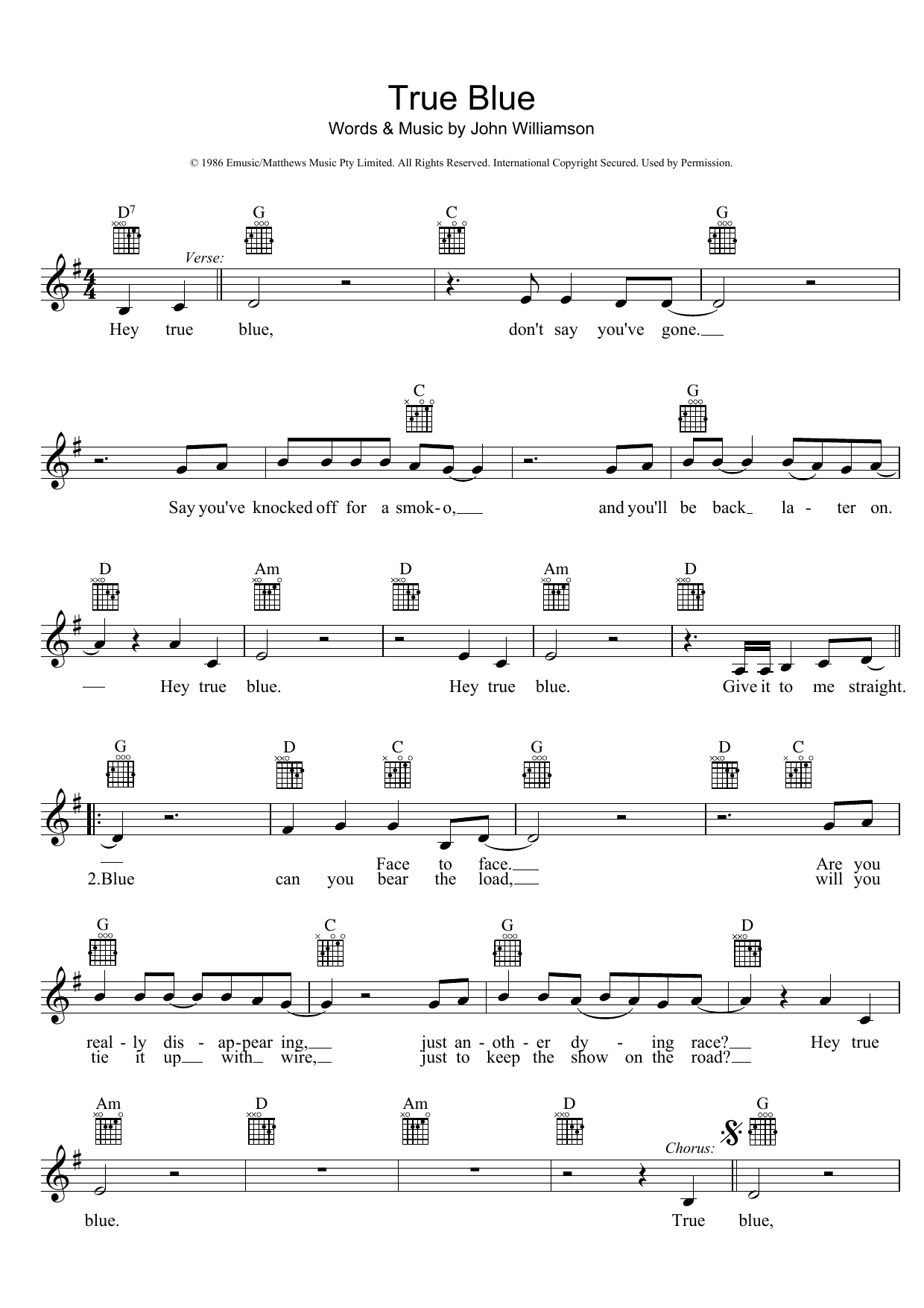 John Williamson True Blue sheet music preview music notes and score for Melody Line, Lyrics & Chords including 2 page(s)