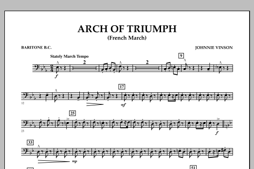 Johnnie Vinson Arch of Triumph (French March) - Baritone B.C. sheet music notes and chords