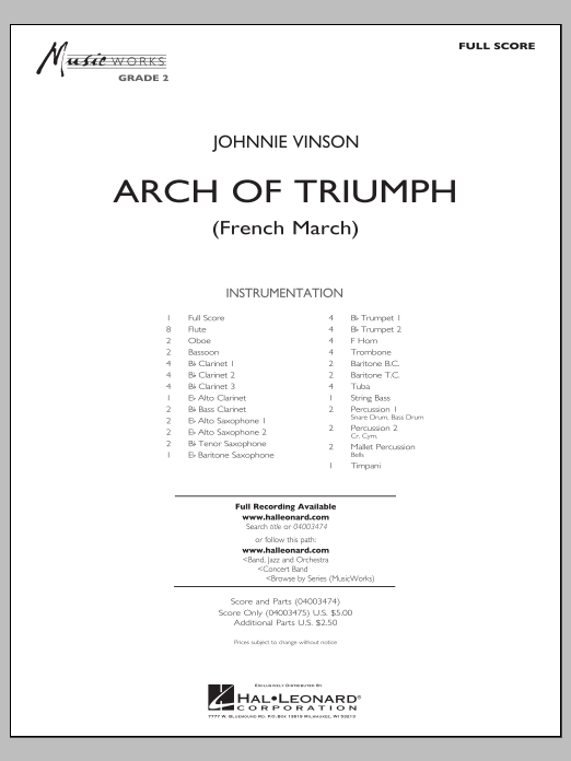 Download Johnnie Vinson 'Arch of Triumph (French March) - Full Score' Digital Sheet Music Notes & Chords and start playing in minutes