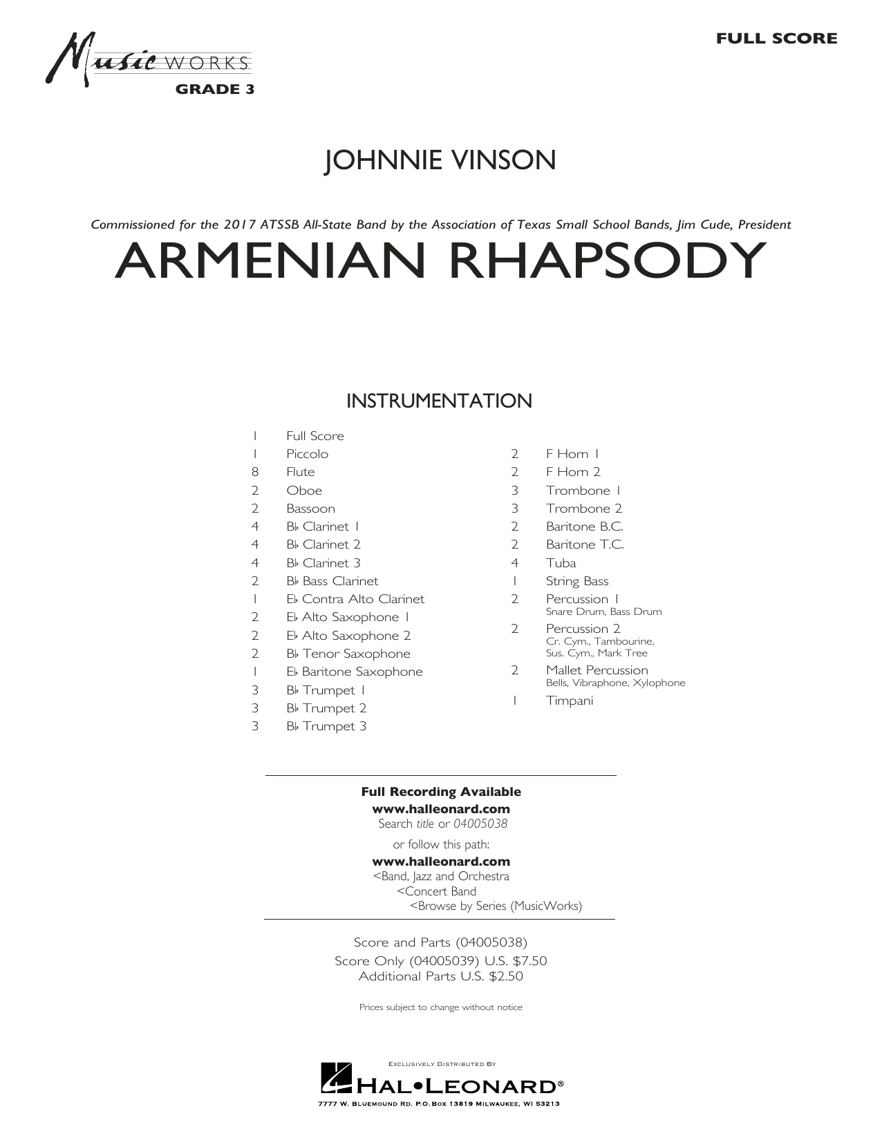 Johnnie Vinson Armenian Rhapsody - Conductor Score (Full Score) sheet music preview music notes and score for Concert Band including 31 page(s)
