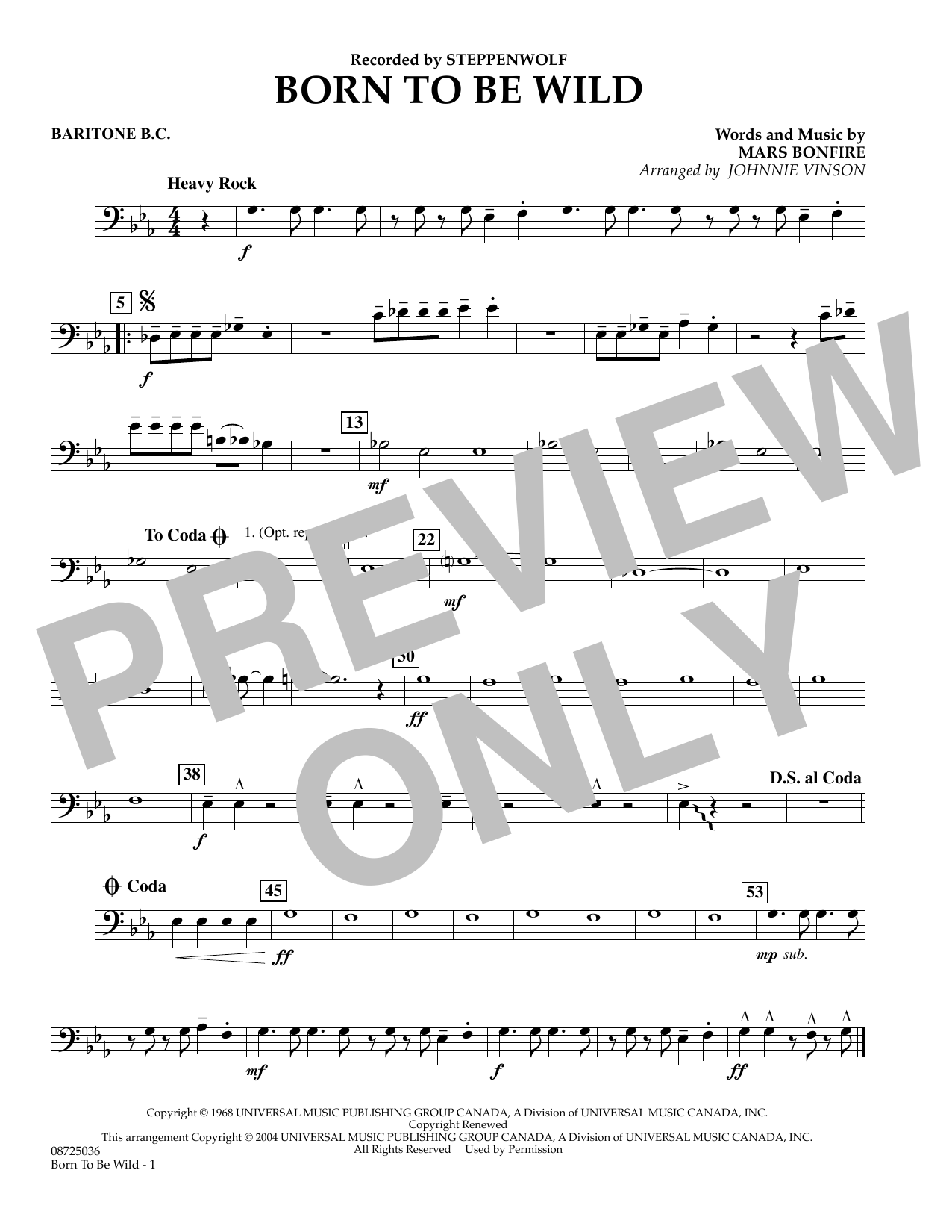 Johnnie Vinson Born to Be Wild - Baritone B.C. sheet music preview music notes and score for Concert Band including 1 page(s)