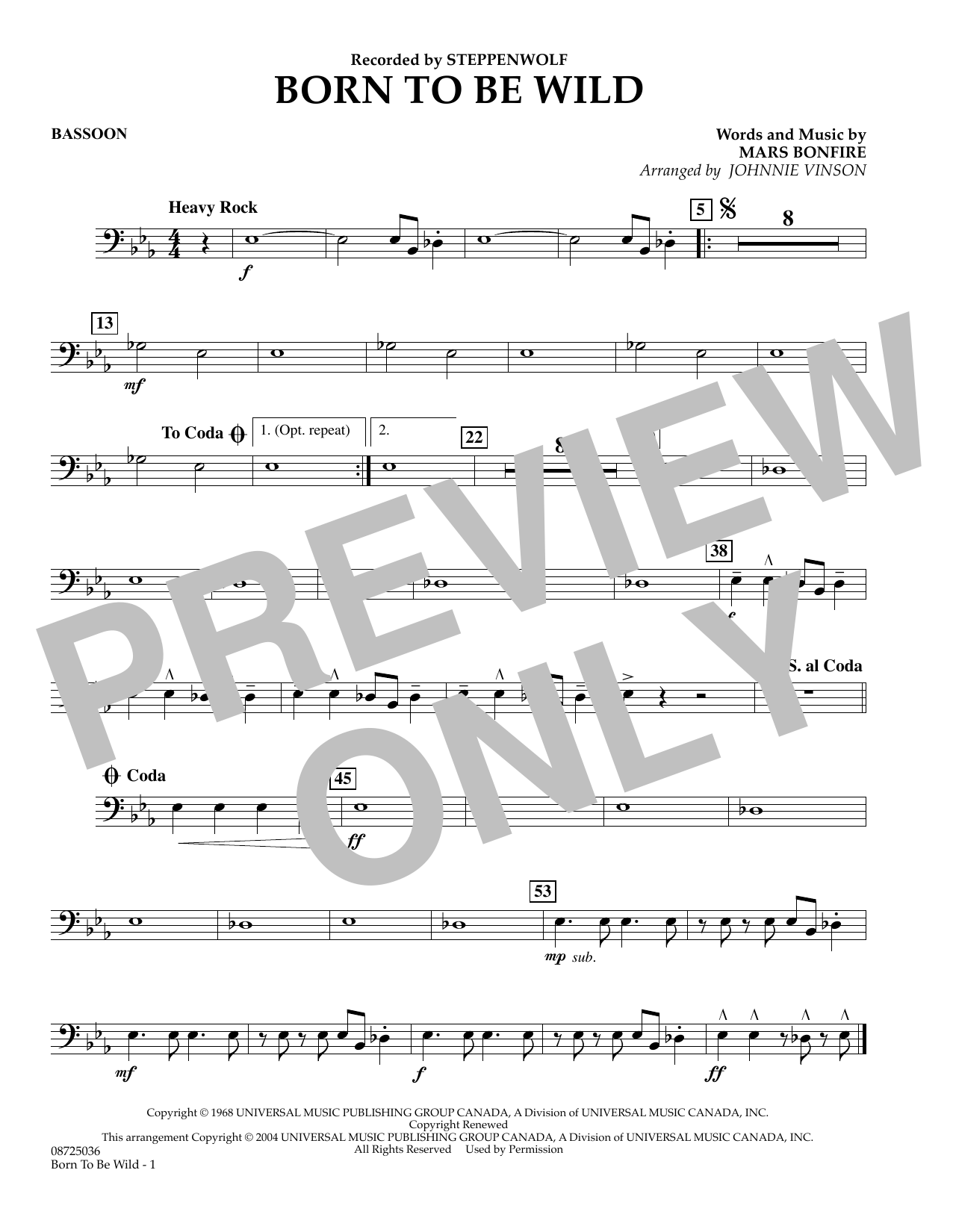 Johnnie Vinson Born to Be Wild - Bassoon sheet music preview music notes and score for Concert Band including 1 page(s)