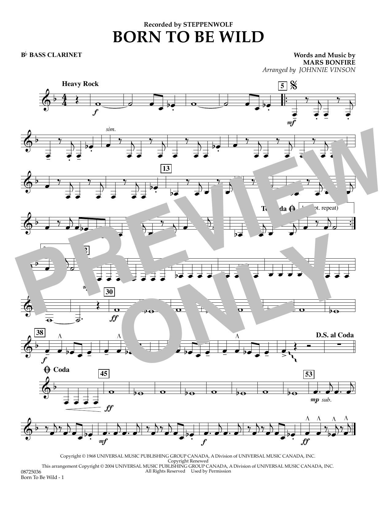 Johnnie Vinson Born to Be Wild - Bb Bass Clarinet sheet music preview music notes and score for Concert Band including 1 page(s)