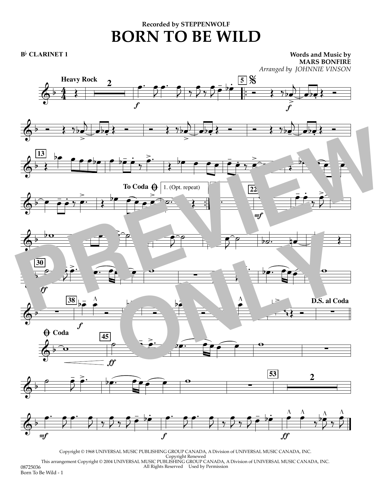 Johnnie Vinson Born to Be Wild - Bb Clarinet 1 sheet music preview music notes and score for Concert Band including 1 page(s)