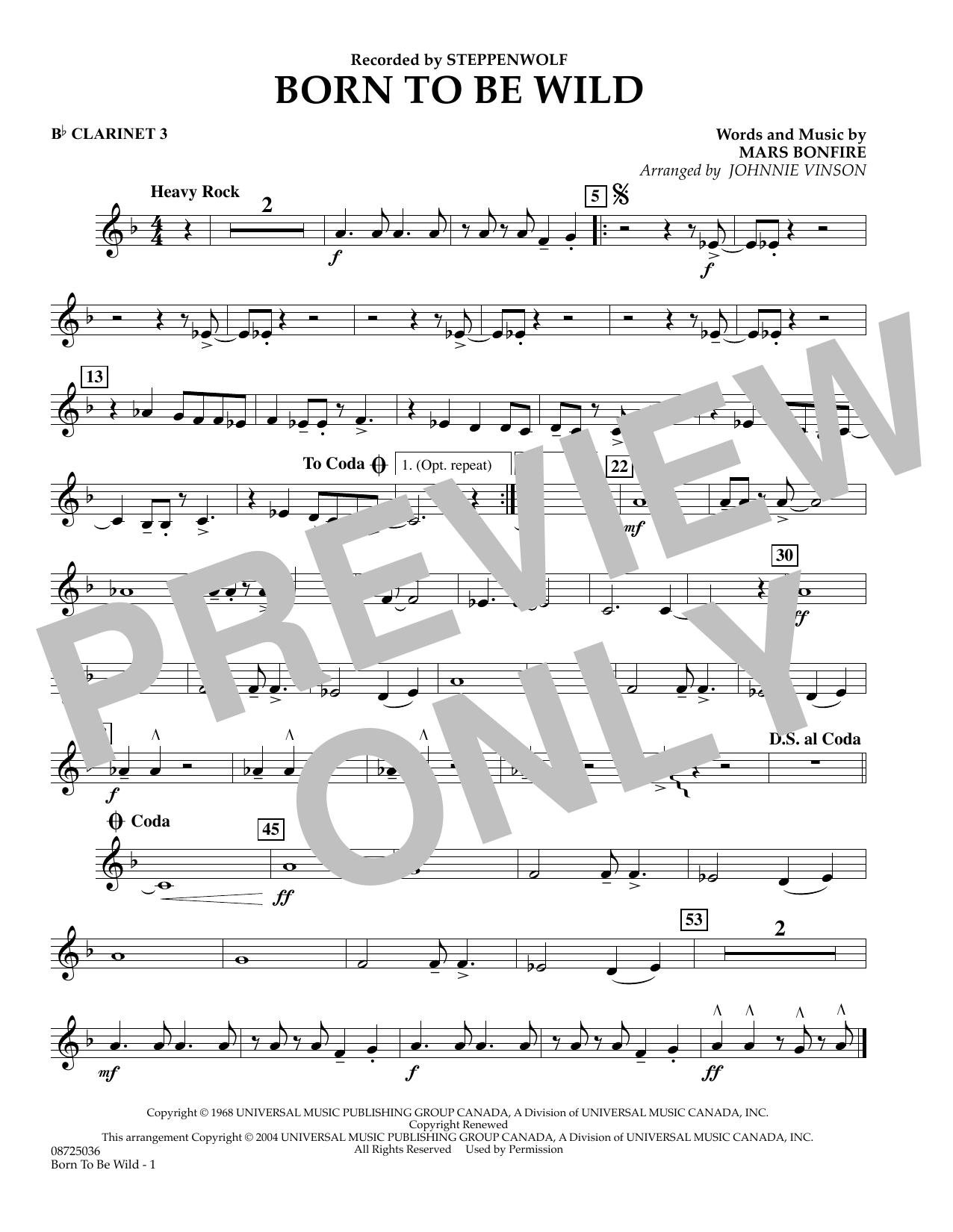 Johnnie Vinson Born to Be Wild - Bb Clarinet 3 sheet music preview music notes and score for Concert Band including 1 page(s)