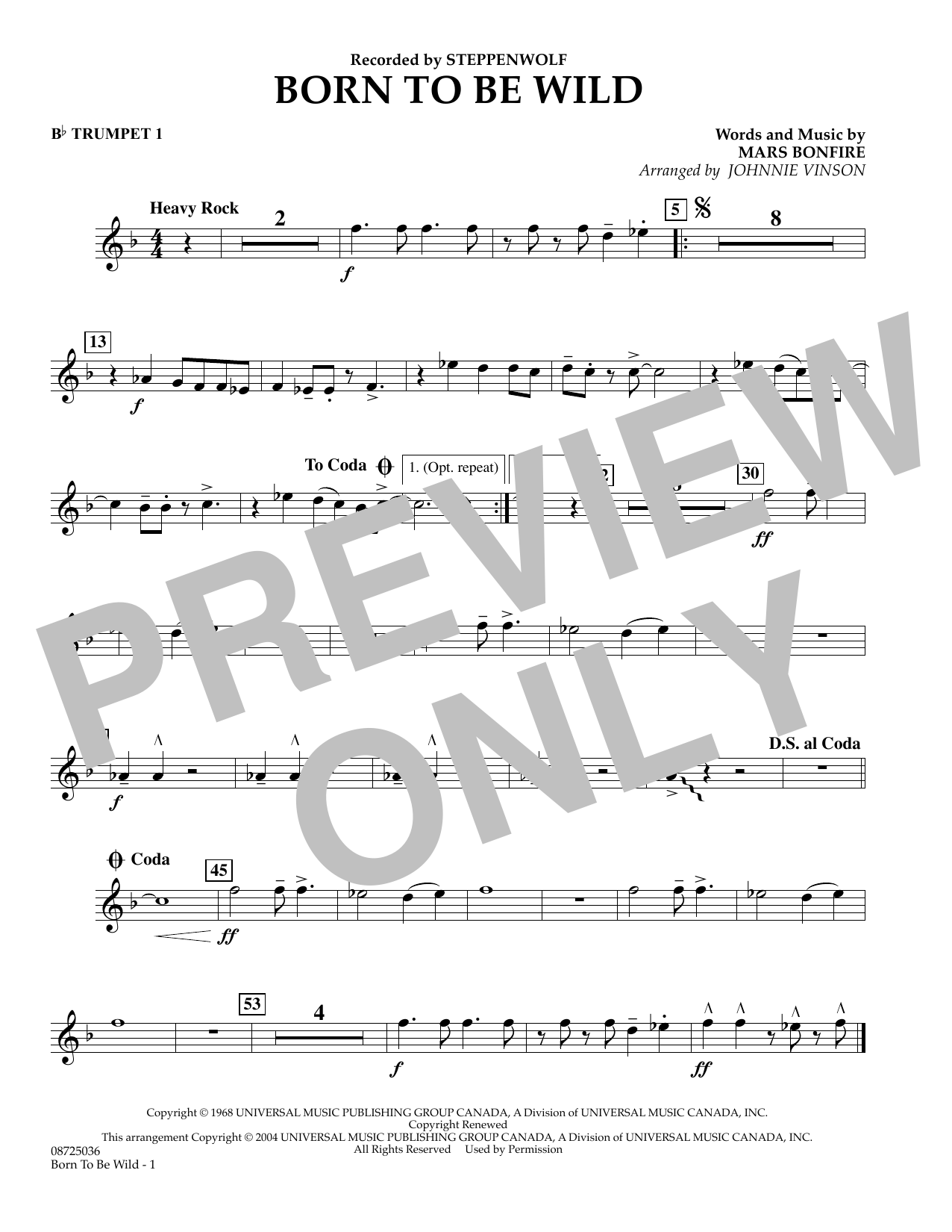 Johnnie Vinson Born to Be Wild - Bb Trumpet 1 sheet music preview music notes and score for Concert Band including 1 page(s)