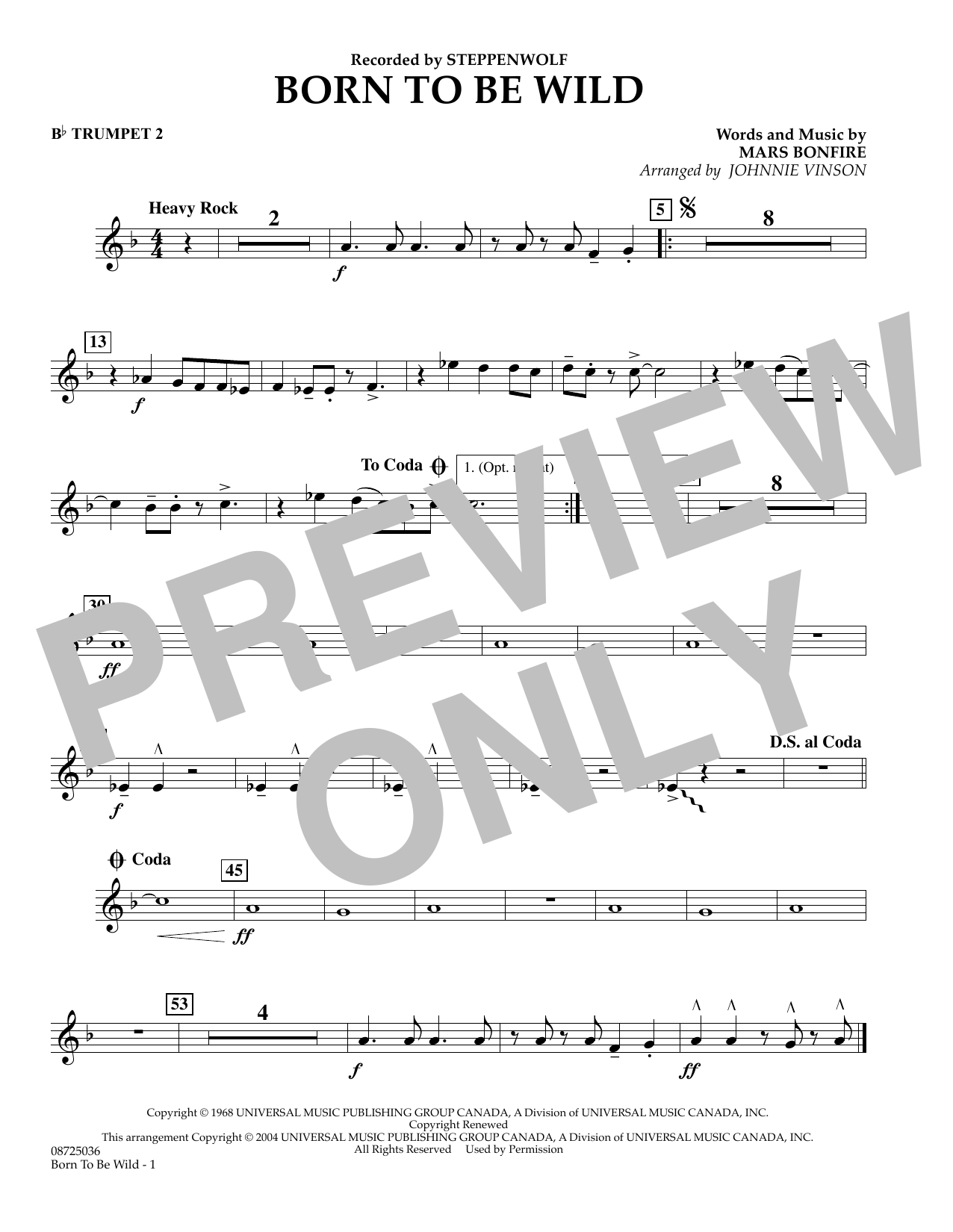 Johnnie Vinson Born to Be Wild - Bb Trumpet 2 sheet music preview music notes and score for Concert Band including 1 page(s)