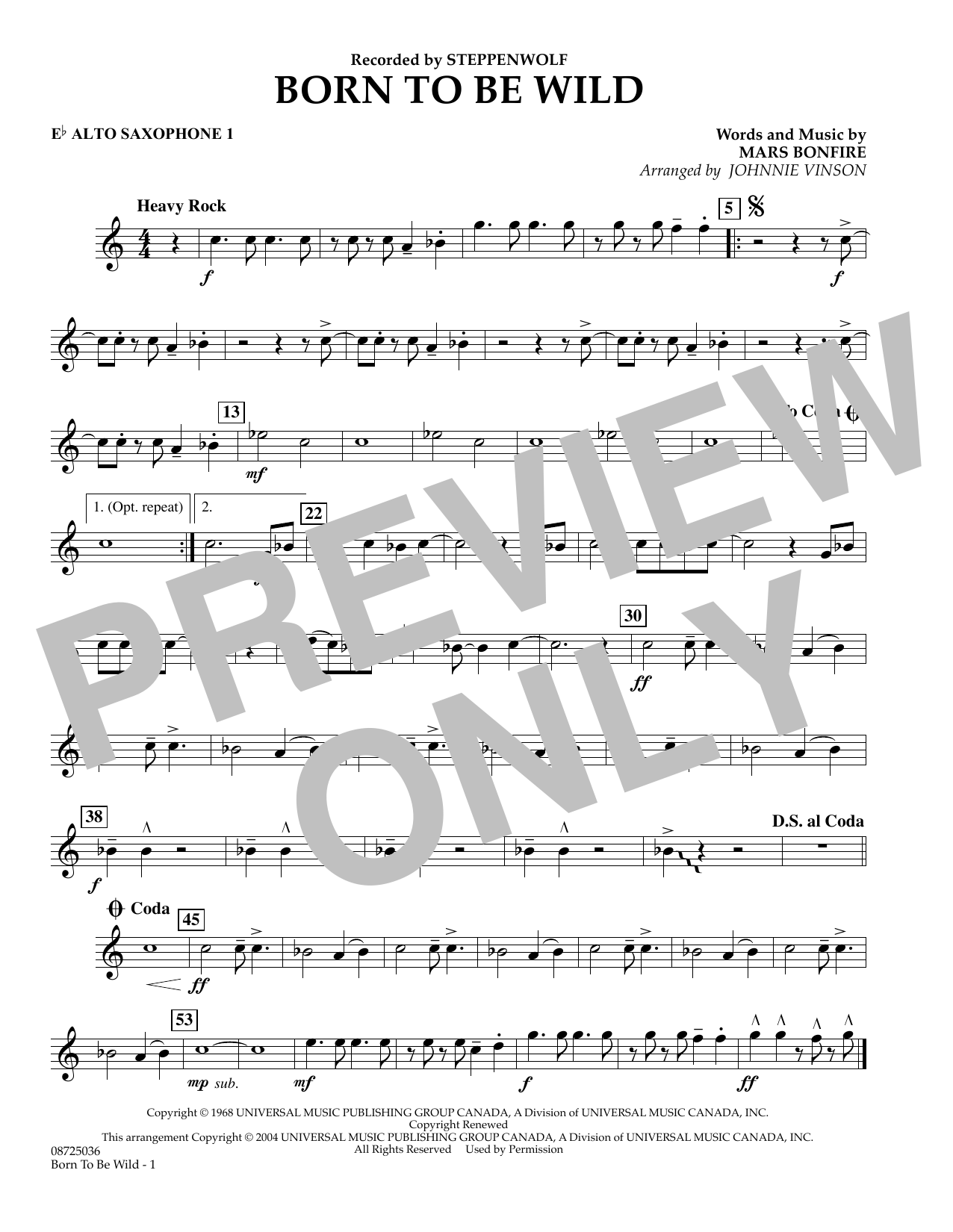 Johnnie Vinson Born to Be Wild - Eb Alto Saxophone 1 sheet music preview music notes and score for Concert Band including 1 page(s)