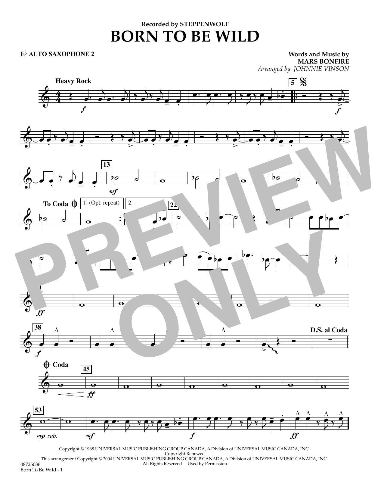 Johnnie Vinson Born to Be Wild - Eb Alto Saxophone 2 sheet music preview music notes and score for Concert Band including 1 page(s)