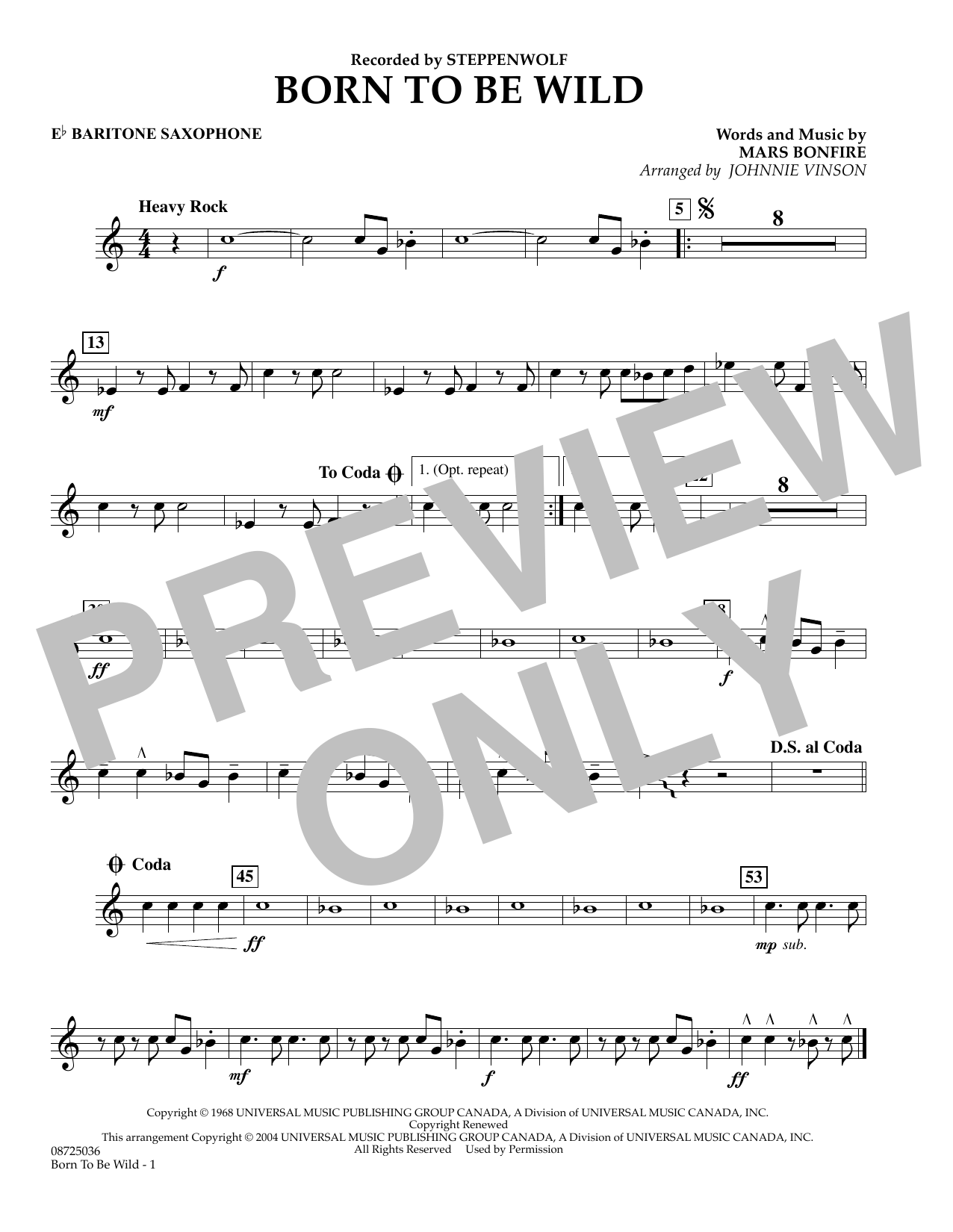 Johnnie Vinson Born to Be Wild - Eb Baritone Saxophone sheet music preview music notes and score for Concert Band including 1 page(s)