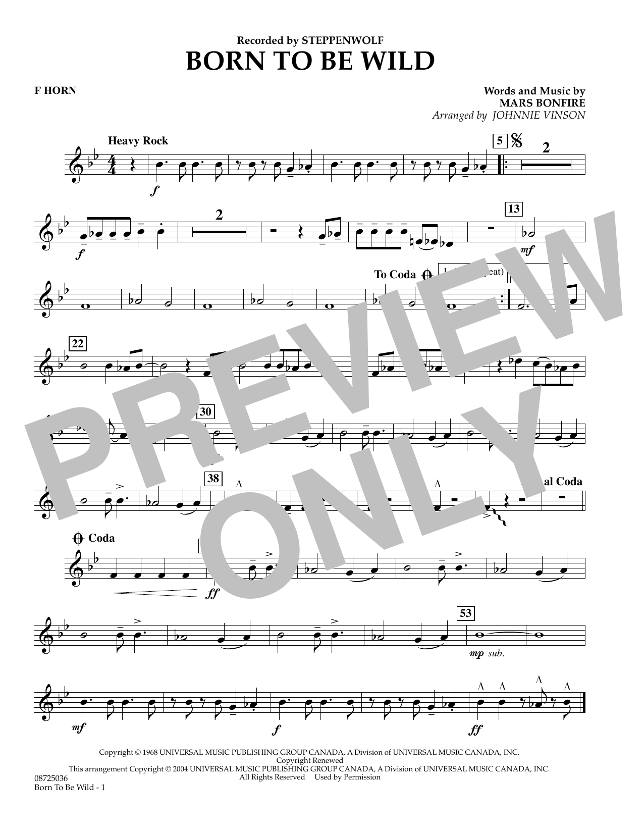Johnnie Vinson Born to Be Wild - F Horn sheet music preview music notes and score for Concert Band including 1 page(s)