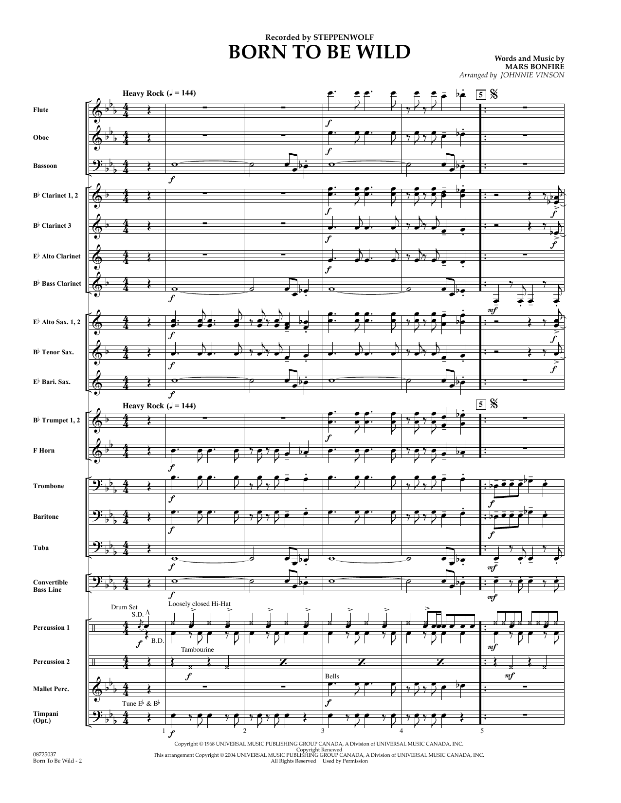 Johnnie Vinson Born to Be Wild - Full Score sheet music preview music notes and score for Concert Band including 11 page(s)