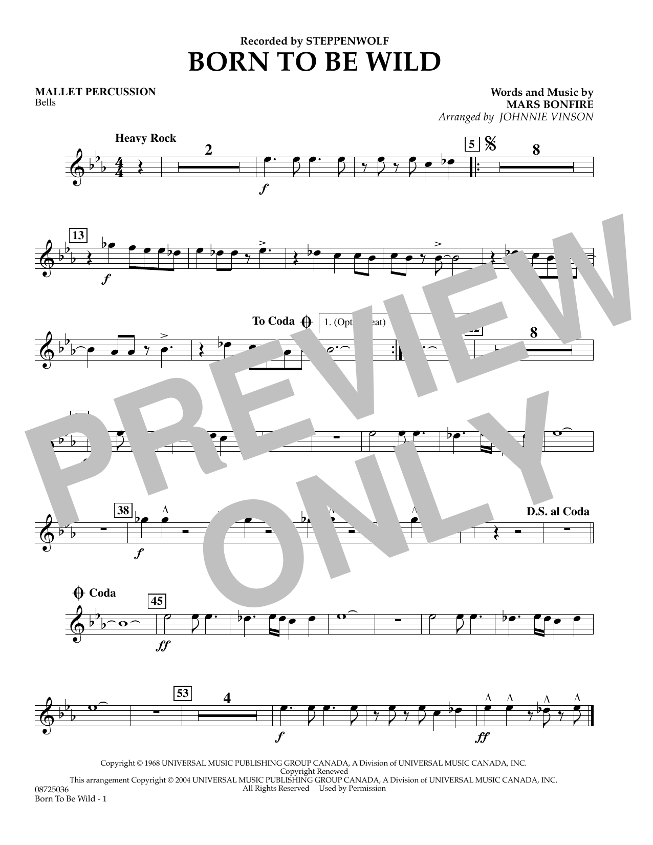 Johnnie Vinson Born to Be Wild - Mallet Percussion sheet music preview music notes and score for Concert Band including 1 page(s)
