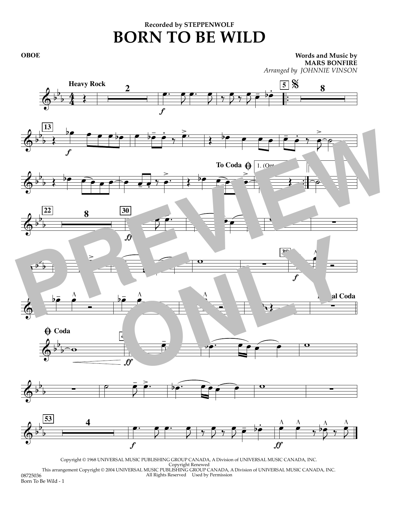 Johnnie Vinson Born to Be Wild - Oboe sheet music preview music notes and score for Concert Band including 1 page(s)